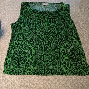 Blue & green sleeveless shell Tahari top 2X